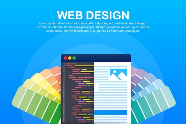 Иллюстрация веб-дизайна. концепция создания сайтов, дизайн баннеров для пользовательского интерфейса, ux дизайн и веб-дизайн.