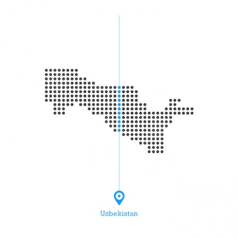 Uzbekistan doted map design vector