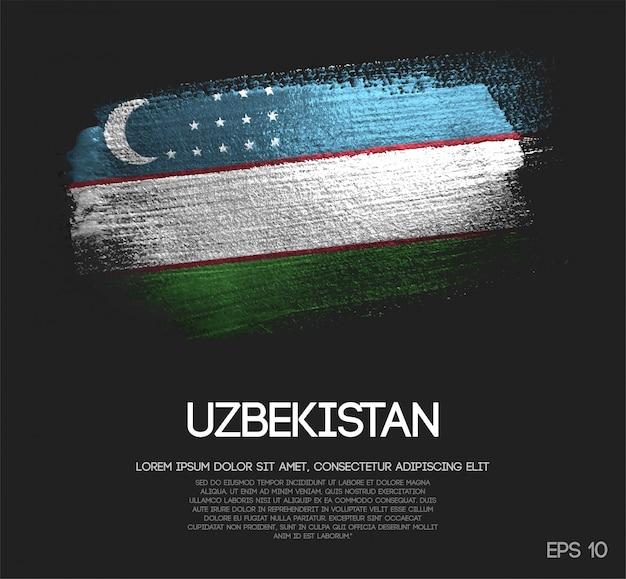 Uzbekistan flag made of glitter sparkle brush paint