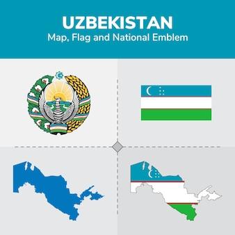 Uzbekistan map, flag and national emblem