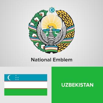 Uzbekistan national emblem and flag