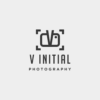 V initial photography logo template vector design icon element