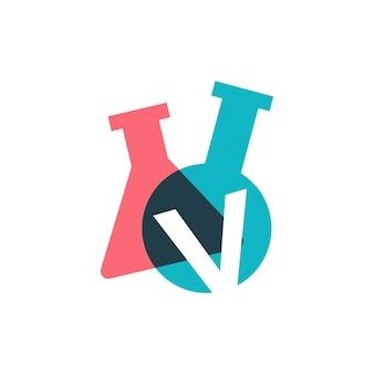 V letter lab laboratory glassware beaker logo vector icon illustration