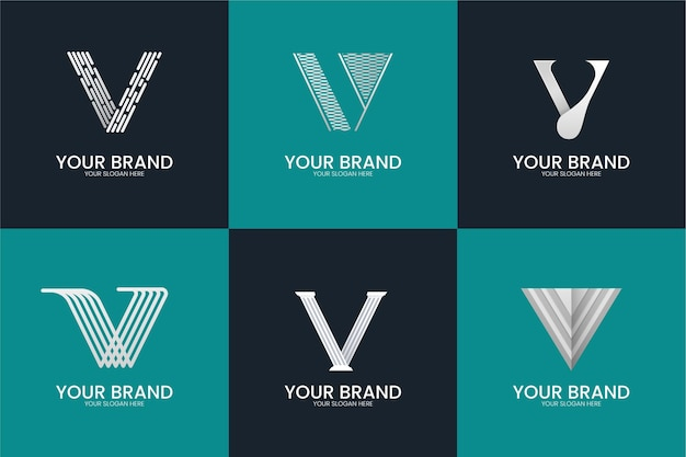 V letter logo collection style