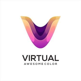 V letter logo colorful illustration