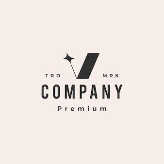 V letter star hipster vintage logo