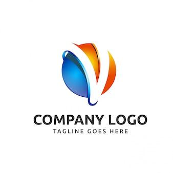 V письмо Tech логотип дизайн компании
