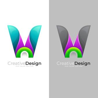 Vロゴとカラフルなデザインテンプレート、カラフルなロゴ