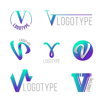 V logo collection concept