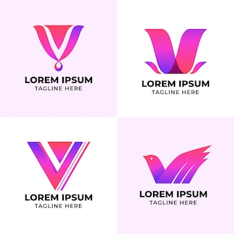 V logo collection template