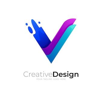 Vロゴデザイン、3dカラフルなアイコン