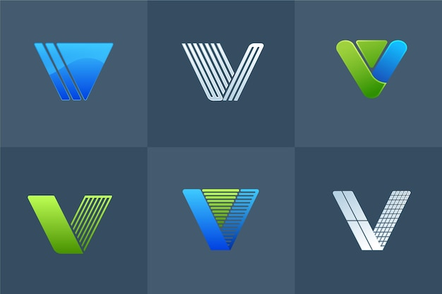 V logo design collection