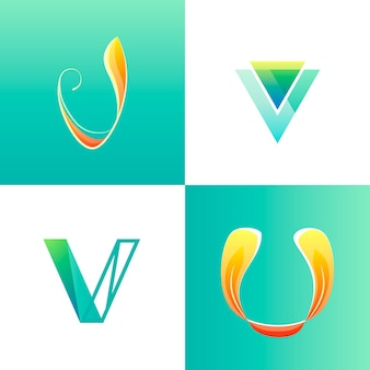 V logo template collection