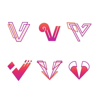 V logo template pack