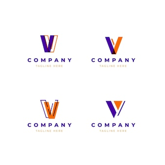 V logo template set