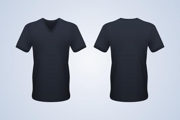 フロントとバックのブラックvネックtシャツ