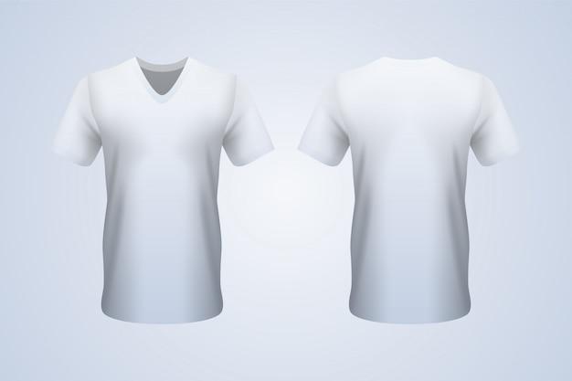 フロントとバックの白いvネックtシャツ