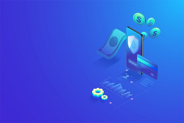 V3d isometric secure online payment by smartphone concept