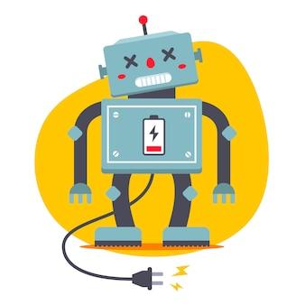 ロボットのプラグが抜かれています。充電する必要があります。電気的飢v。フラットベクトル文字。