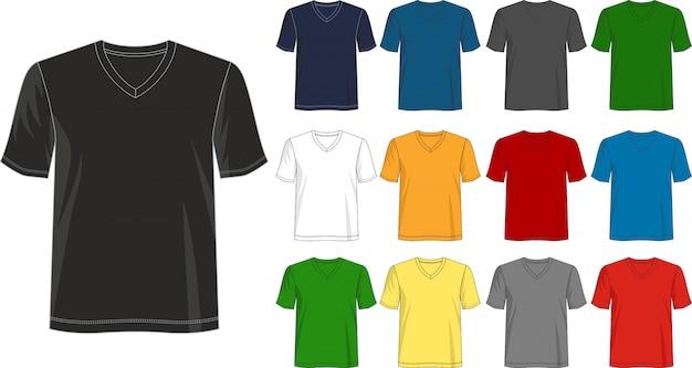 Шаблон футболки с v-образным вырезом