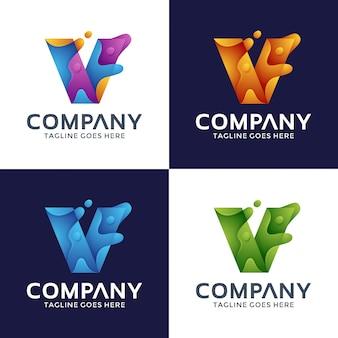 抽象的な手紙vロゴデザイン