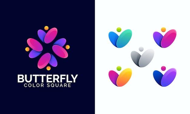 カラフルな蝶のロゴのテンプレート。カラフルな文字vロゴ