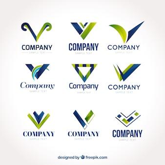 様々な抽象的な文字「v」のロゴ