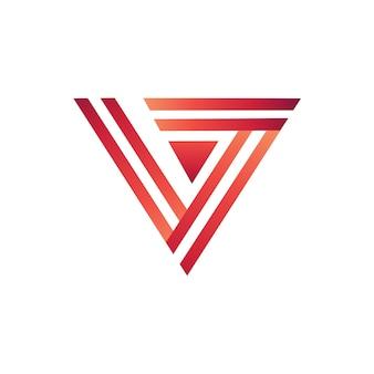 線スタイルのロゴテンプレートによる文字v