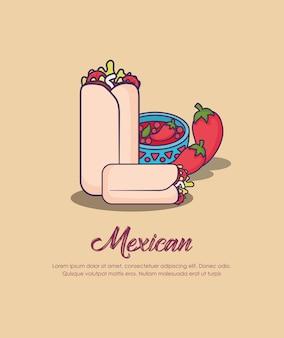 メキシコのブリトーと茶色の背景上の唐辛子のインフォグラフィックデザイン、カラフルなデザイン。 v