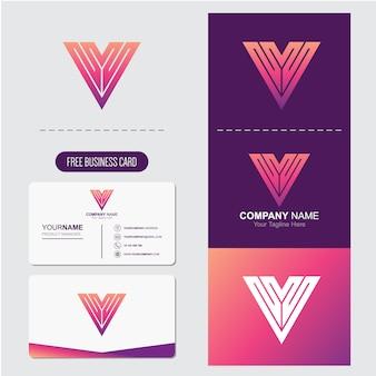 Буква алфавита v логотип абстрактный бесплатная визитная карточка