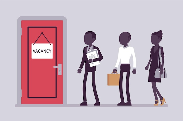 Vacancy door sign in office, job applicants. people searching for work, potential job candidates interview, vacant post, unoccupied company position election. vector illustration, faceless characters