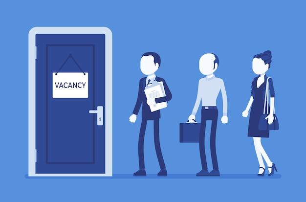 Vacancy door sign in office, job applicants