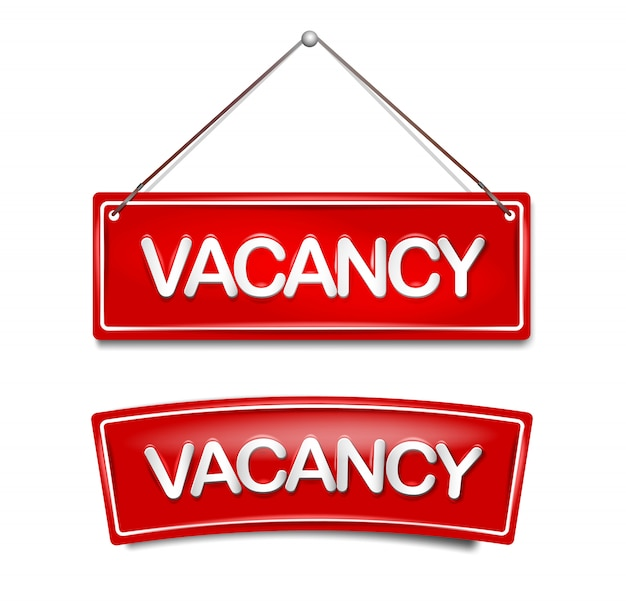 Vacancy icon hiring for new job in door plate in red.  template for vacant at home