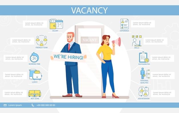 Шаблон инфографики вектор вакансии. исполнительный веб-баннер пользовательского интерфейса с плоскими персонажами. прием на работу. возможность корпоративной карьеры. мультяшный рекламный флаер, листовка, идея плаката ppt info