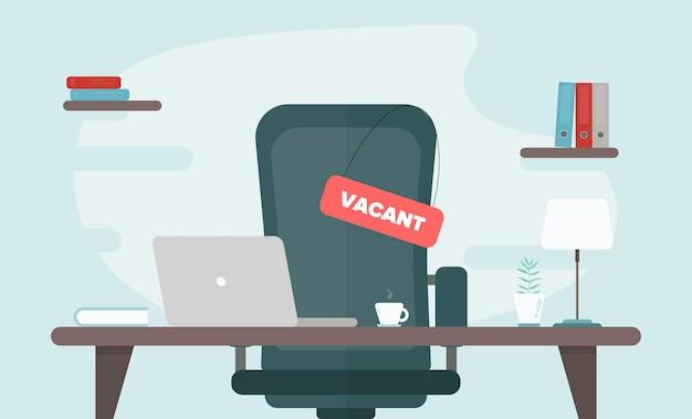 Вакантное место стула в офисном столе иллюстрации