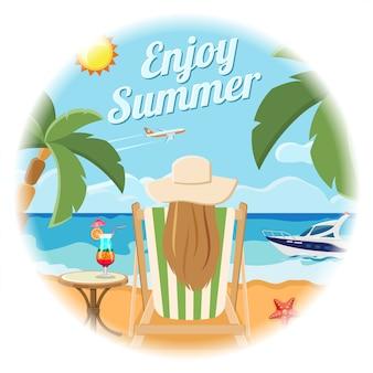 休暇と夏のカードのコンセプト