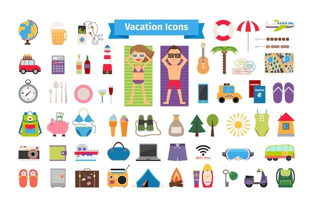 휴가 및 여름 휴식 평면 요소. 관광 및 나침반, 여행 및 쌍안경, 수영복 및 우산.