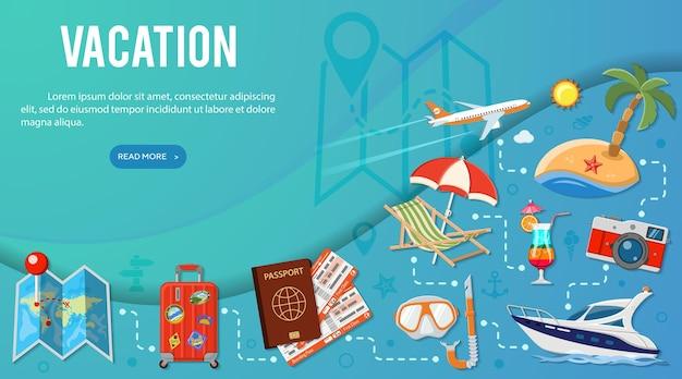 Отпуск и туризм баннерная инфографика с плоским планированием значков, багажом, поездкой, коктейлем, билетами, самолетом и чемоданом. векторная иллюстрация