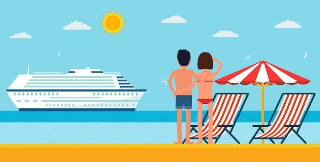 Отпуск и путешествия. мультфильм молодая пара у моря, глядя на круизный лайнер. морской пляж с шезлонгом и зонтиком.