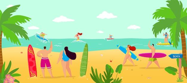 夏のビーチでの休暇のイラスト