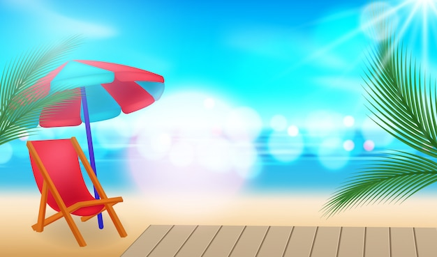 休暇の背景。ヤシの木、日よけ、青い海のビーチ