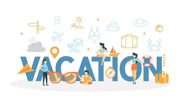 휴가 개념 그림. 휴식과 휴식의 아이디어.