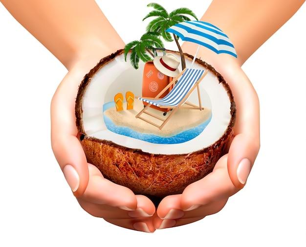 Концепция отпуска. пальма, чемодан и зонтик в кокосе.