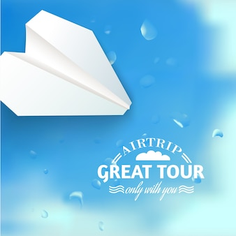 Vacation cruise illustration with paper airplane