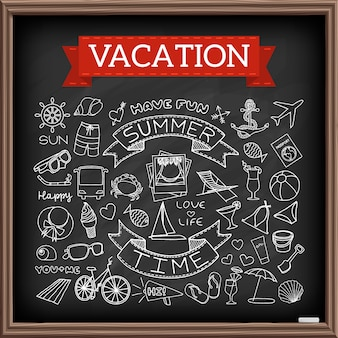 Vacation doodles on chalk board. hand drawn icons collection of travel and summertime symbols