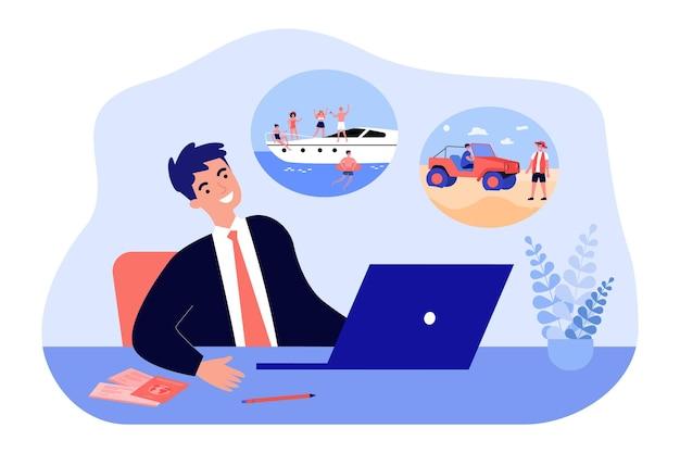 ノートパソコンに座っているビジネスマンの休暇の夢。海のクルーズと旅行のフラットベクトルイラストを夢見ている男。バナー、ウェブサイトのデザインまたはランディングウェブページの仕事と休日のコンセプトを待っています