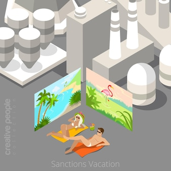 Vacation during sanctions concept.