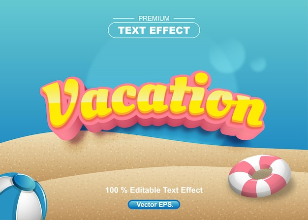 Vacation editable text effect