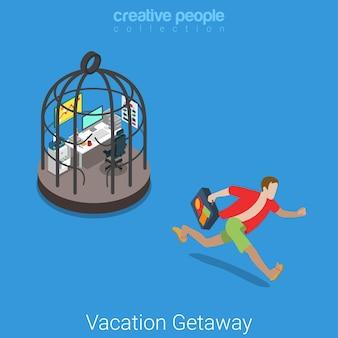 Fuga di vacanza piatto isometrico duro lavoro concetto di vacanza giovane uomo casual abiti da spiaggia scappare dal posto di lavoro in gabbia d'acciaio.