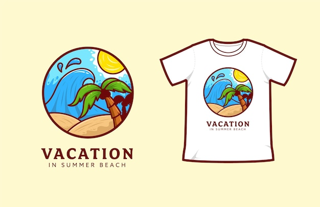 Vacation holiday in summer beach logo icon badge, surfing beach with big wave t-shirt illustration vector